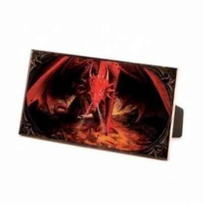 "Beautiful Fantasy Ceramic Dragon Plaque "" FIRE DRAGON GUARDING TREASURE "" !!"