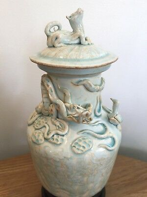 Rare Longquan Celadon Funerary Jar Vase Southern Song Dynasty Dragon Chinese