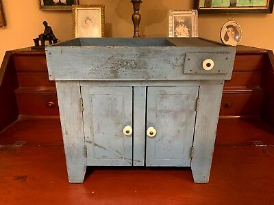 Folk Art Antique/Vintage Robin's Egg Blue Miniature Dry Sink-Near Mint