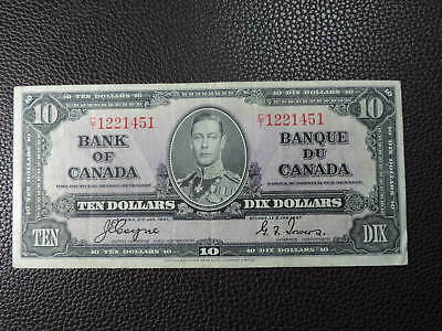 1937 $10 Dollar Bank of Canada Note C/T1221451 Coyne Towers VF-EF Grade Bill