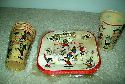 1959 Huck Hound & Other Hanna-Barbera Characters Paper Plates + Cups   Free Ship
