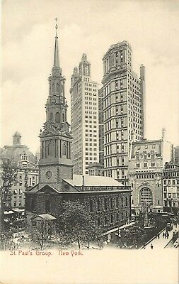c1905 Lithograph Postcard; St. Paul's Group Buildings New York City NY Nice!