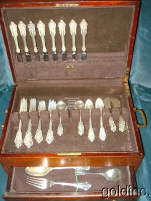 Serves For 8 Sterling Silver Wallace Grande Baroque 53 Pcs. plus Serving Pcs.
