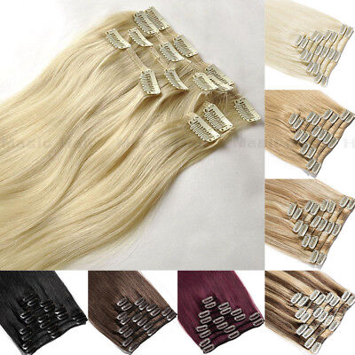 S-noilite 7/8PCS Clip In 100% Remy Human Hair Extensions Real Indian Hair Blonde