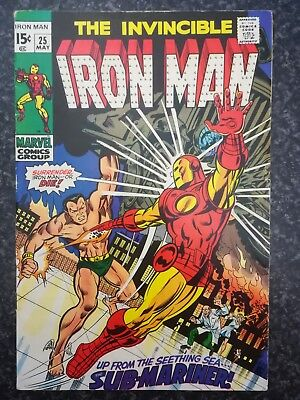 Invincible Iron Man  #25  May 1970 : Sub - Mariner Guest Star! Classic Cover!!