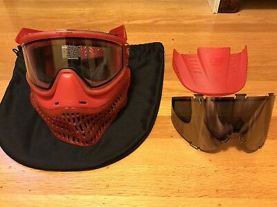 Fire Red JT Flex Paintball Mask With Clear And Mirrored Lens