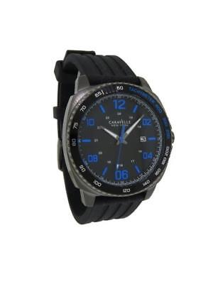 Caravelle New York 45B144 Men's Cushion Analog Date Black Silicone Watch