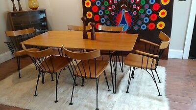 MCM dining set table 6 chairs iron wood hairpin legs Lyman Woodard AMAZING!