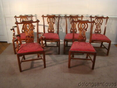 49078:Solid Mahogany Set of 6 Chippendale Style Dining Chairs