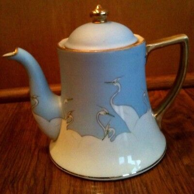 NIPPON Teapot with Lid Hand Painted CRANE birds Lovely Japanese Porcelain