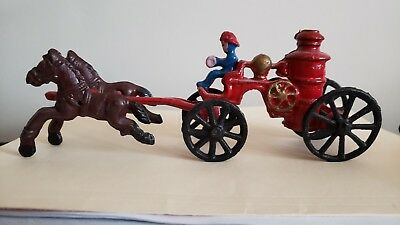 vintage Cast Iron Toy Horse Drawn Fire Engine Truck Wagon