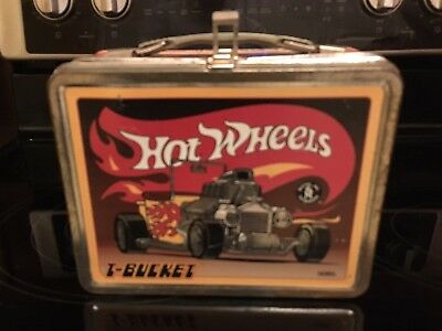 Vintage Mattel Hot Wheels T-Bucket Tin Lunch Box with Thermos