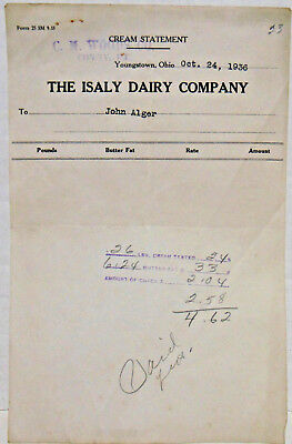Oct. 24, 1936, Isaly Dairy, Youngstown, OH Cream Statement, C M Woods, Corry, PA