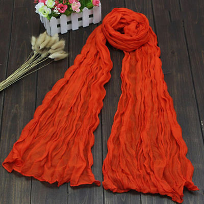 Colorful Women s Soft Wrinkle Long Crinkle Scarf Shawl Candy 9 Colors Excellent