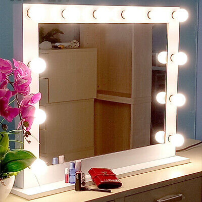 Chende White Hollywood Makeup Vanity Mirror Lighted Mirror with Free LED Bulbs W