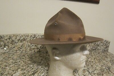 Original WWI Campaign Hat- 5 Rows of Stitching on brim-replacement liner 7 1/8