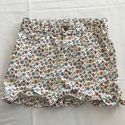 Vintage Osh Kosh Denim Jean Skirt Girls Sz 10 Pink White Floral Ruffle W Pockets