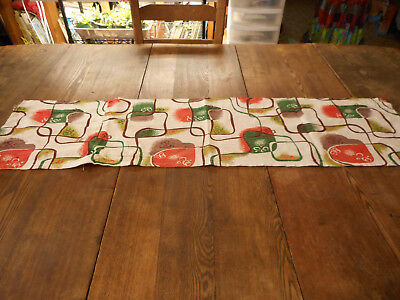 Vintage barkcloth runner, perfect Eames style, color, print. Mid-century 1950's