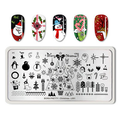 BORN PRETTY Christmas L001 Nail Stamping Plate Rectangle Manicure Decoration
