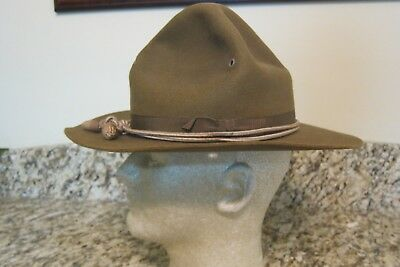 Original WWI US Campaign Hat- 5 Rows of Stitching on brim w/ hat cord -7 1/8