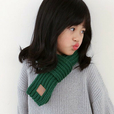 Lovely Autumn Winter Boys Girls Baby Kid Solid Scarf Warm Scarves Green