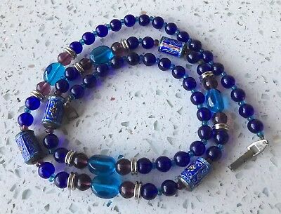 VTG Antique Chinese Blue Peking Glass Enamel Metal Silver Beaded Art Necklace