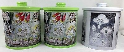 3 Gumnut Babies Collectible Biscuit Tins Green White Embossed May Gibbs Canister
