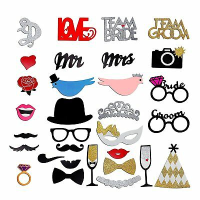31pcs Love Bird Glasses Moustache Wedding Birthday Photo Booth Prop Party Favo E