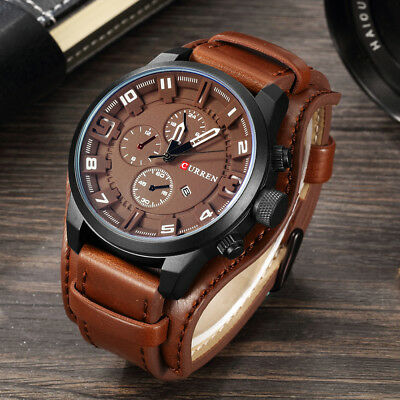 Mens Watches Top Brand Luxury Leather Strap Waterproof Sport Men Quartz Watch