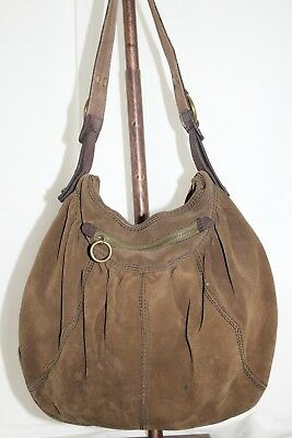 Lucky Brand Vintage Inspired Soft Luxurious Leather Large Hobo Tote in Military