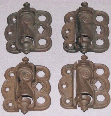 Antique Victorian Cast Iron Screen Door Hinges Ornate Set of 4 Spring Loaded