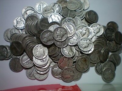 1916 To 1945 Mercury Dime Lot / 180 Coins