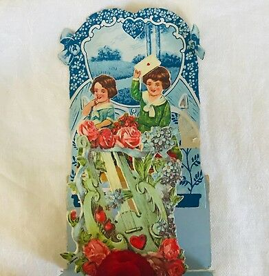 Antique Victorian Stand-Up Fold-Out Diecut Embossed Valentine Card