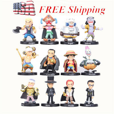 One Piece Luffy Sabo Shanks Lucci 12 PCS Anime Action Figure Figurine Gift Toys