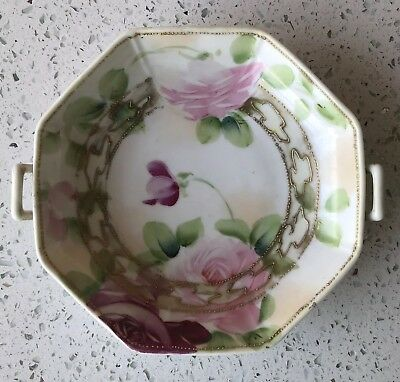 Antique Japanese Hand Painted Nippon Candy Nut Bowl Beaded Flower Art 2 Handled