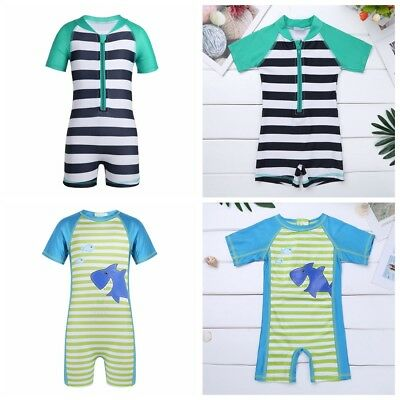 Kids Boy Girl Swimsuit One Piece Striped Surfing Suits Beach Swimwear Rash Guard