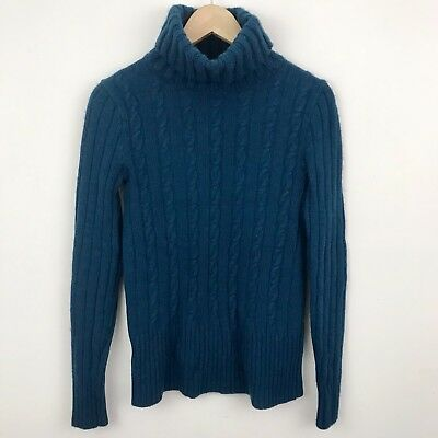 J Crew Womens M Sweater Teal Turtleneck Cable Knit Wool Blend Pullover j1 b71aef4df3d4