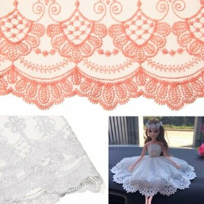 1 Yard 35cm Delicate Embroidered DIY Flower Tulle Lace Trim Fabric Saclloped