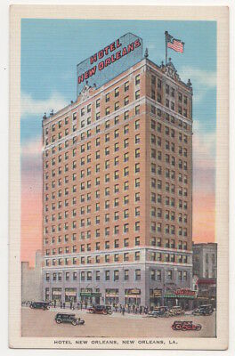 New Orleans Louisiana c1938 Hotel New Orleans, vintage car
