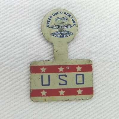 Vintage WWII USO Metal Tab Button Green Duck New York Used