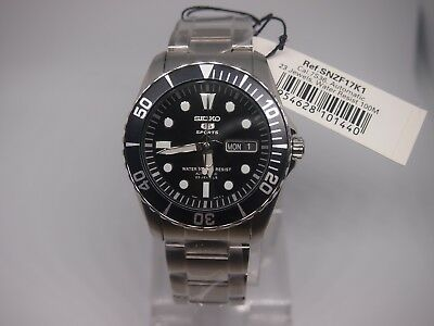 SEIKO 5 SNZF17 Stainless Steel Sports Automatic Men's Black Watch SNZF17K1 New