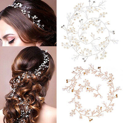 50cm Women Girl Bride Wedding Crystal Pearl Hair Band Garland Flower Headband