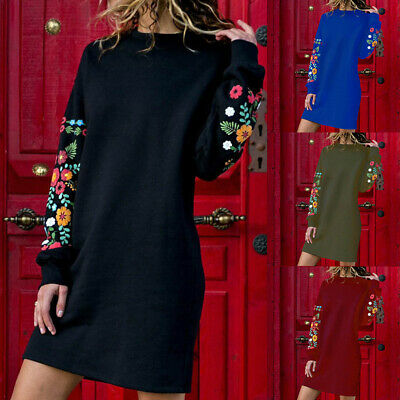 Robe Femme Mode Lârge Col Rond Pulls Floral Manches Longues Robe en Vrac Sweats