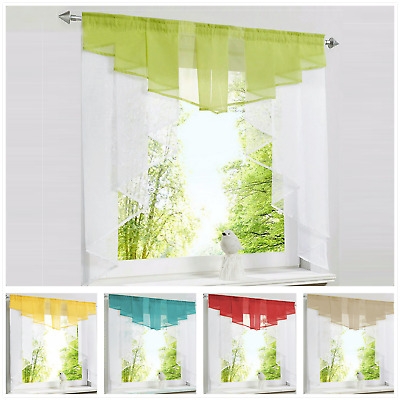 Voile Roman Curtain Blind Tulle Balcony Kitchen Panel Polyester Rod Pocket 1PCS