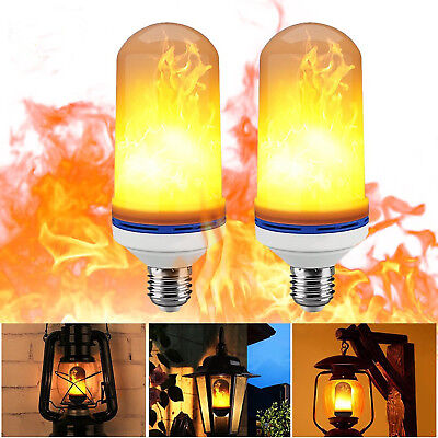 2 Pack LED Flame Effect Simulated Nature Fire Light Bulb E26 5W Decoration Lamp
