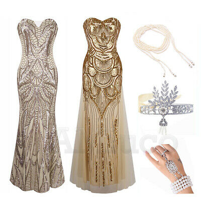 1920s Flapper Dress Gatsby Costume Sequin Cocktail Party Long Bridesmaid Dresses