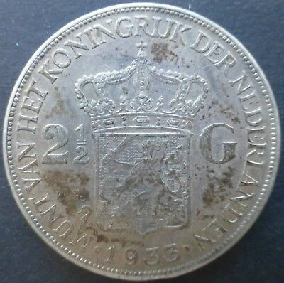 1933 Two and Half Guilders Netherlands Silver Coin