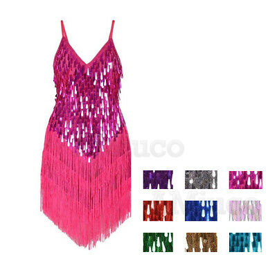 1920s Charleston Flapper Gatsby Sequins Fancy Tassel Art Deco Party Latin Dress
