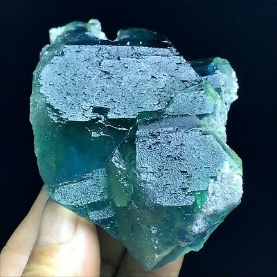 214g Rare Larger Particles Blue/Green Fluorite Crystal MIneral Specimen/China