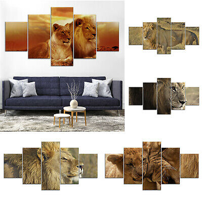 Lion Couple Animal Modern Canvas Print Painting Home Decor Wall Art Poster 5Pcs